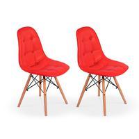 Conjunto 2 Cadeiras Dkr Charles Eames Wood Estofada Botonê - Vermelha