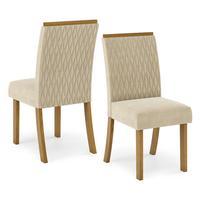 Kit Conjunto 2 Cadeiras Vega Sala De Jantar Nature Linho