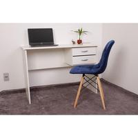 Kit Escrivaninha Com Gaveteiro Branca e 01 Cadeira Botonê Veludo - Azul Marinho