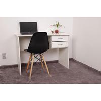 Kit Escrivaninha Com Gaveteiro Branca e 01 Cadeira Charles Eames - Preta