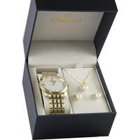 Kit Relógio Feminino Champion Cn25341w Analógico - Dourado