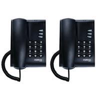Kit 02 Telefones Com Fio Mesa Ou Parede Pleno Preto Intelbras