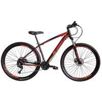 """Bicicleta Aro 29 Ksw 21 Marchas Freios A Disco, K7 E Suspensão Cor:preto/laranja E Vermelhotamanho Do Quadro:19"""" - 19"""""""