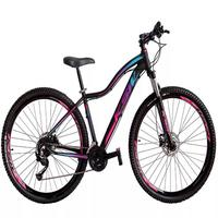 """Bicicleta Aro 29 Ksw 27 Marchas Freio Hidráulico e Trava/k7 Cor: Preto/Rosa e Azul, Tamanho Do Quadro:17"""" - 17"""""""