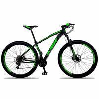"""Bicicleta Aro 29 Ksw 21 Marchas, Freios A Disco, K7 E Suspensão, Cor: preto/verde, Tamanho do Quadro: 17"""""""