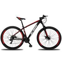 """Bicicleta Aro 29 Ksw 24 Marchas Freios A Disco, K7 E Suspensão Cor: Preto/Vermelho E Branco, Tamanho Do Quadro:19"""" - 19"""""""