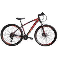 """Bicicleta Aro 29 Ksw 21 Marchas Freio Hidraulico, Trava E K7 Cor: Preto/Laranja E Vermelho, Tamanho Do Quadro:17"""" - 17"""""""