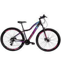 """Bicicleta Aro 29 Ksw Xlt 24 Marchas Shimano E Freios A Disco - Preto/rosa E Azul - 15"""""""