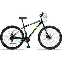 Bicicleta Aro 29 Gt Sprint Mx1. 21v Garfo Rigido Freio Disco - Preto/azul E Amarelo - 17''