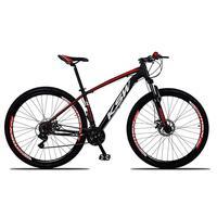 """Bicicleta Aro 29 Ksw 24 Marchas Freio Hidráulico E Suspensão Cor: preto/vermelho E Branco tamanho Do Quadro:19"""""""