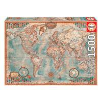 Puzzle 1500 Peças O Mundo, Mapa Político - Educa - Importado