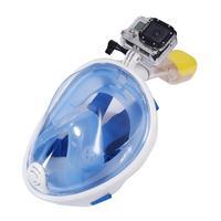 Máscara Mergulho Livre Snorkeling Full Face Para Gopro Tamanho L xl - Cor: Azul