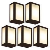 Luminária De Parede Retangular Marrom Kit Com 5